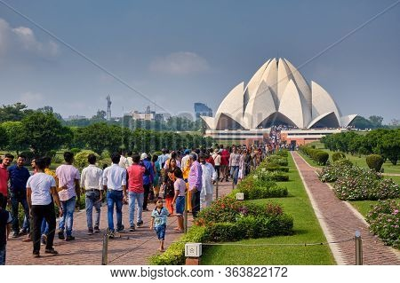 Delhi / India - October 2, 2019: Lotus Temple, Bahai House Of Worship In New Delhi, India
