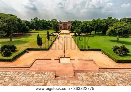 Delhi / India - September 21, 2019: Charbagh, Quadrilateral Islamic Garden Layout Divided By Walkway