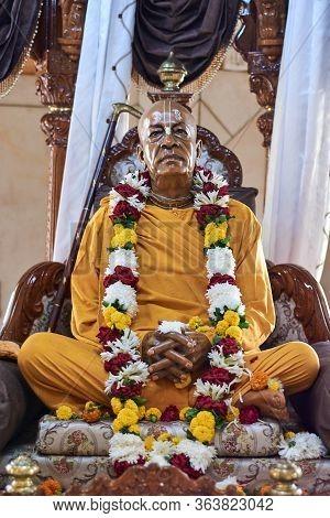Delhi / India - October 2, 2019: Shrine At Iskcon Delhi Hindu Temple Of Lord Krishna, New Delhi, Ind