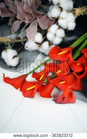 Calla lilies and cotton flowers on a white background. Beautiful red flowers