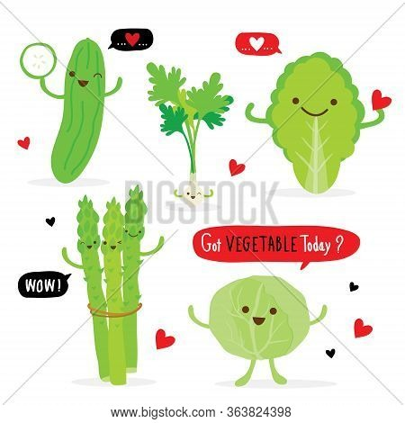 Set Of Vegetable Green Color Cartoon Character. Asparagus, Cucumber, White Cabbage, Chinese Cabbage