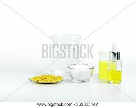 Cosmetic Chemicals Ingredient On White Laboratory Table. Polyaluminium Chloride, Carnauba Wax Flakes