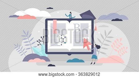 E-learning Vector Illustration. Distance Teaching Flat Tiny Persons Concept. Teacher With Symbolic C
