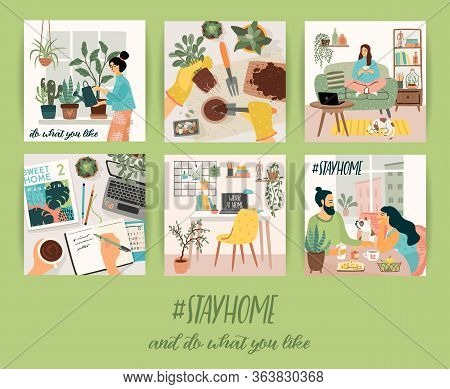 Stay At Home. People Stay In Cozy House. Vector Illustrations.