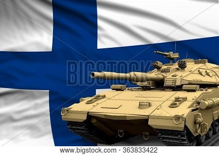 Finland Modern Tank With Not Real Design On The Flag Background - Tank Army Forces Concept, Military