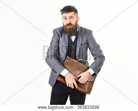 Sad Emotions, Sadness Concept. Manager Or Broker With Sad Facial Expression