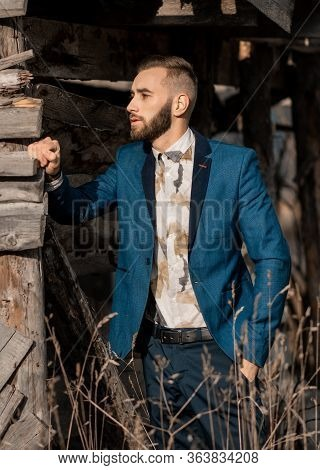 Fashion Portrait Bearded Groom Waiting For The Bride. Rich Groom On The Wedding Day. Elegant Groom I