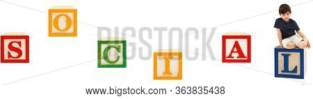 Child Social Distancing Concept  over white in English Alphabet Blocks