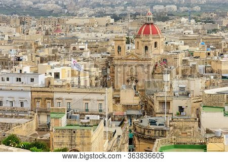 Victoria, Malta - April 11, 2012: Skyline View Of The City Of Victoria, And The St. Georges Basilica