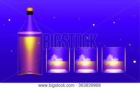 Mock Up Illustration Of Whisky Bottle And Glasses On Abstract Background