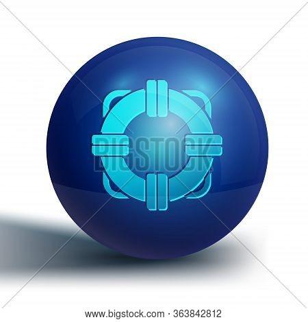Blue Lifebuoy Icon Isolated On White Background. Lifebelt Symbol. Blue Circle Button. Vector Illustr