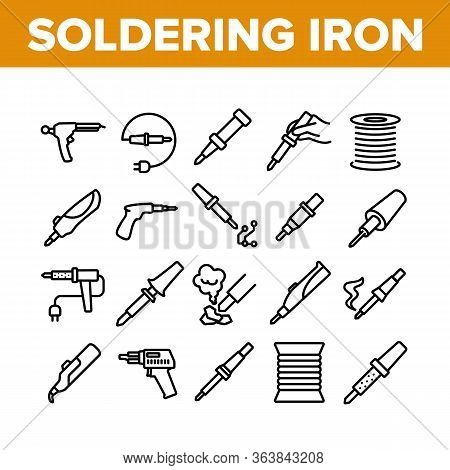 Soldering Iron Device Collection Icons Set Vector. Electronic Equipment And Reel With Metallic Mater