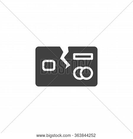 Broken Credit Card Vector Icon. Debt Free Filled Flat Sign For Mobile Concept And Web Design. Debt B