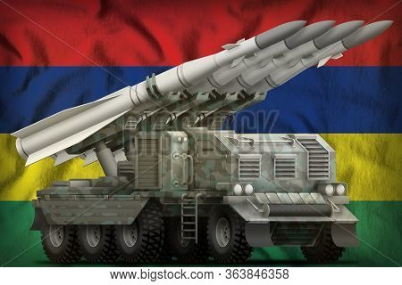 Tactical Short Range Ballistic Missile With Arctic Camouflage On The Mauritius Flag Background. 3d I