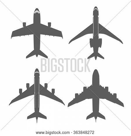 Silhouette Isolated Top View Aircraft Set. Flat Icon Show Fuselage(body), Wing, Rudder. Grey Colour.