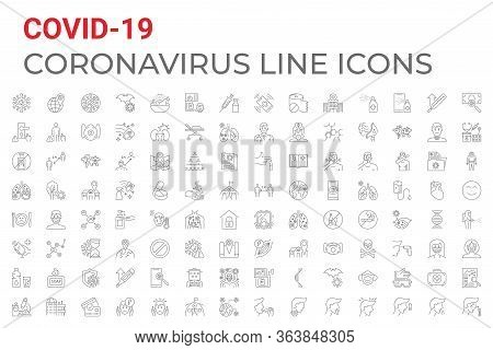 Coronavirus Covid-19 Pandemic Respiratory Pneumonia Disease Related Vector Icons Set Line Style. Inc