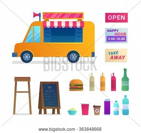 Food Truck Trade Isolated Icons Set. Street Food Catering Service With Take Away Fast Food. Signboar