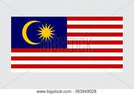 Malaysian Flag, Made In Malaysia, Simple Vector Illustration Of The Malaysian Flag Isolated On Grey