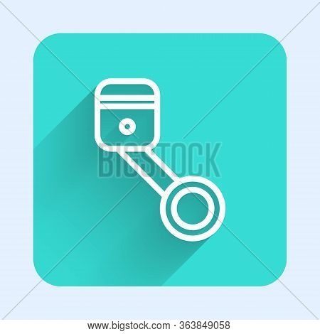White Line Engine Piston Icon Isolated With Long Shadow. Car Engine Piston Sign. Green Square Button