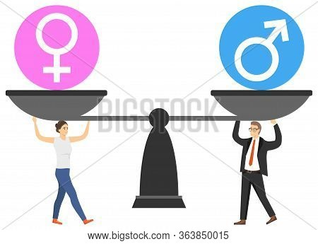 Gender Equality. A Man And A Woman Support The Balance For Balance. Gender Balance. Vector Illustrat