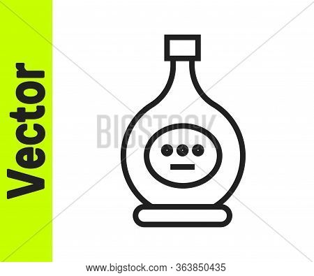 Black Line Bottle Of Cognac Or Brandy Icon Isolated On White Background. Vector Illustration