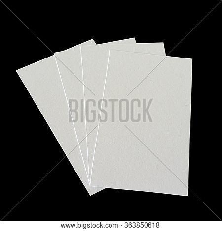 Business Cards Fan-shaped Mocap On A Black Background. Gray Cards Spread Out Fan Mocap
