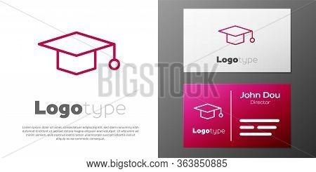 Logotype Line Graduation Cap Icon Isolated On White Background. Graduation Hat With Tassel Icon. Log