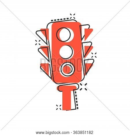 Semaphore Icon In Comic Style. Traffic Light Cartoon Vector Illustration On White Isolated Backgroun