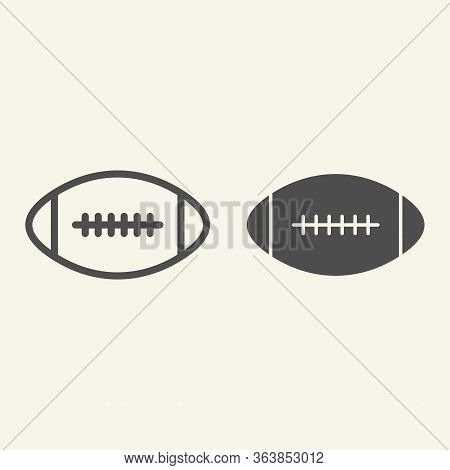 Rugby Ball Line And Solid Icon. American Football Game Outline Style Pictogram On Beige Background.