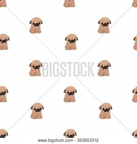 Vector Flat Pattern With Cute Pug. Animal. Puppy Pug. Little Dog. Seamless Pattern.