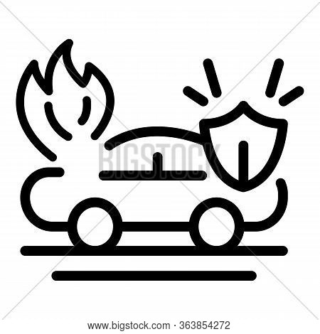 Protect Car Accident Icon. Outline Protect Car Accident Vector Icon For Web Design Isolated On White