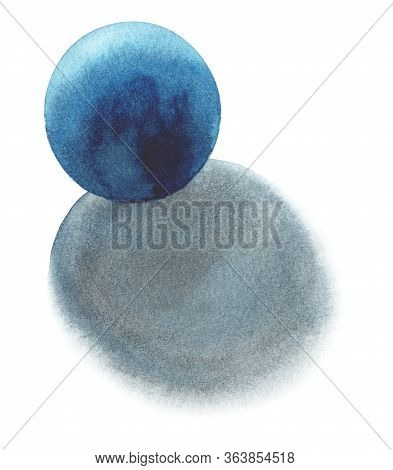 Blue Sphere - Light From The Back, Basic Geometric Shapes With Dramatic Light And Shadow In Watercol
