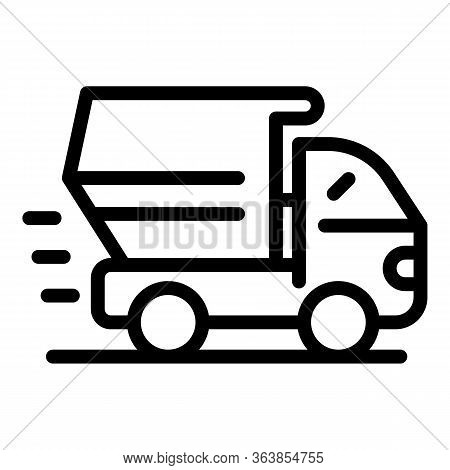 Dump Truck Icon. Outline Dump Truck Vector Icon For Web Design Isolated On White Background