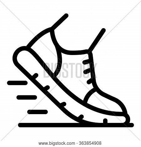 Foot In Sneaker Icon. Outline Foot In Sneaker Vector Icon For Web Design Isolated On White Backgroun