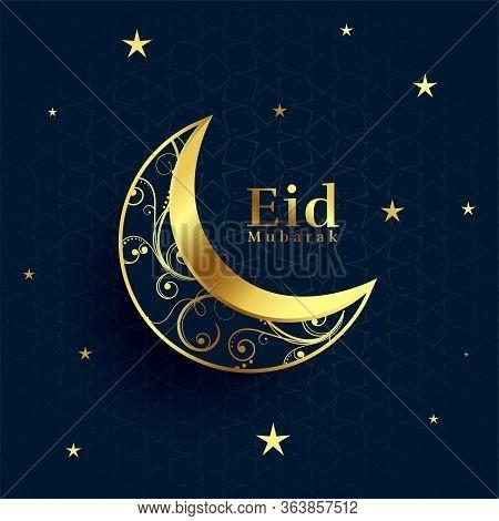 Eid Mubarak Beautiful Golden Decorative Moon Background