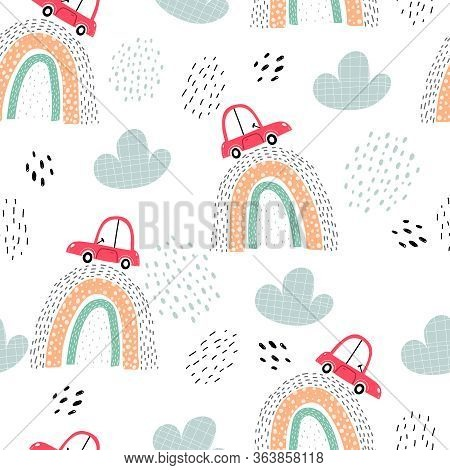 Seamless Pattern With Cars, Rainbows, Decor Elements. Colorful Vector For Kids. Hand Drawing, Flat S