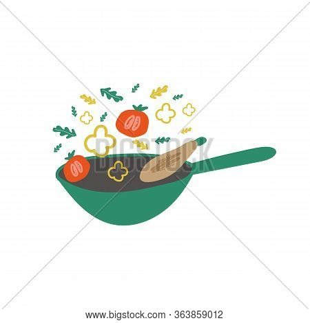 Wok Pan, Cooking. Freehand Drawing Illustrating The Process Of Cooking Food. Cooking Food, Poster