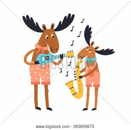 Cute Amusing Elk Family Playing Musical Instruments. Moose Father And Child With Guitar And Saxophon