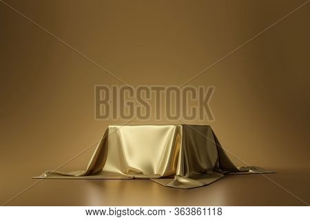 Golden Luxurious Fabric Placed On Top Pedestal Or Blank Podium Shelf On Gold Background With Luxury