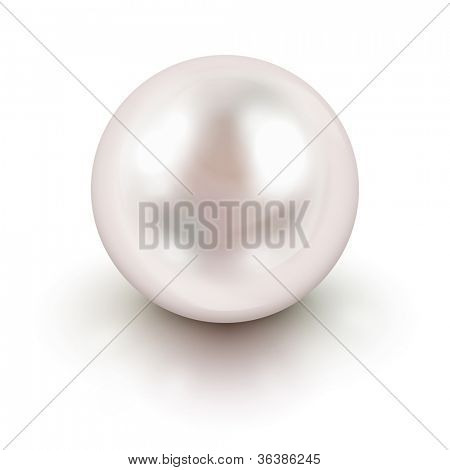 Shiny natural white pearl with light effects