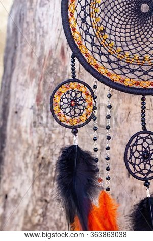 Handmade Dream Catcher With Feathers Threads And Beads Rope Hanging