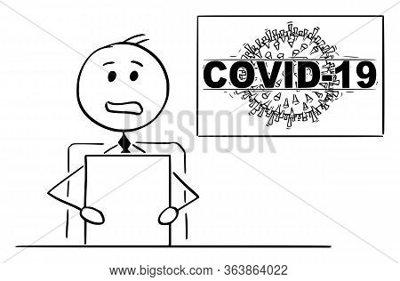 Vector Cartoon Stick Figure Drawing Conceptual Illustration Of Newscaster Or Newsreader In Televisio