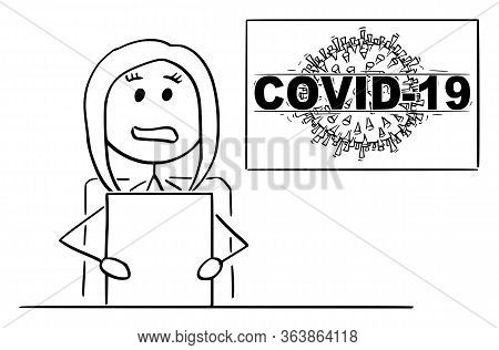 Vector Cartoon Stick Figure Drawing Conceptual Illustration Of Female Newscaster Or Newsreader In Te