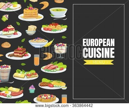 European Cuisine Card Template With Traditional European Meals Pattern Vector Illustration