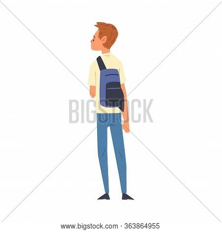 Young Man Standing With Backpack, Guy In Casual Clothes, View From Behind Vector Illustration