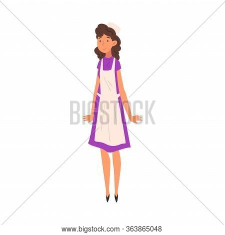 Cheerful Woman In Apron, Saleswoman Character In Apron And Cap Vector Illustration