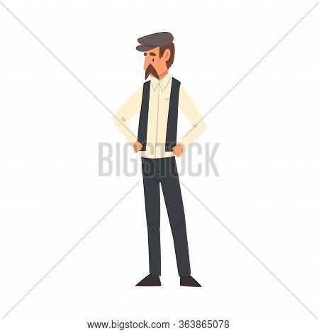 Senior Male Seller Or Farmer Character Standing On Hands On His Waist Vector Illustration