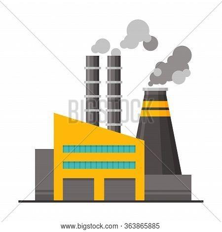Power Plant Building With Smoking Chimneys, Environmental Pollution Flat Vector Illustration