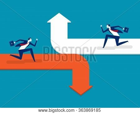 Running On The Different Arrow Opposite Direction. Concept Business Directional Illustration, Flat C