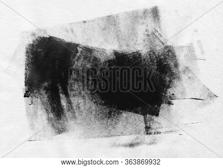 Abstract black and white acrylic and watercolor blot painting. Monotype template. Canvas texture background.